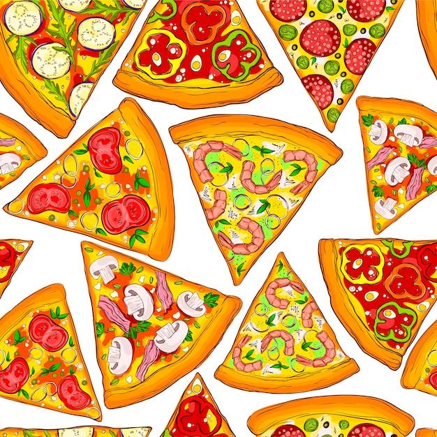 シームレスパターンのおいしいピザスライス。 Premiumベクター
