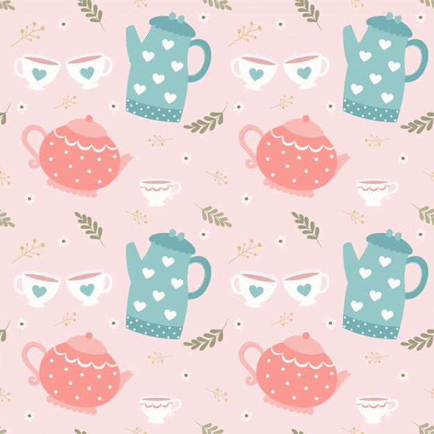 Seamless pattern teapot and cup Premium Vector
