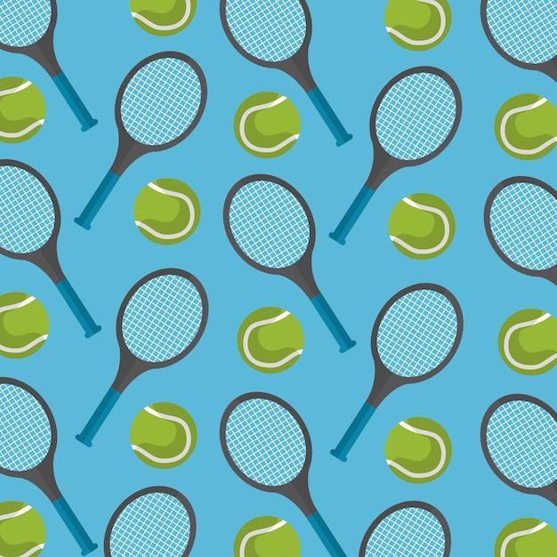 Seamless pattern tennis ball and racket Free Vector