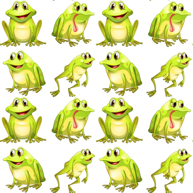 Seamless pattern tile cartoon with frogs Free Vector