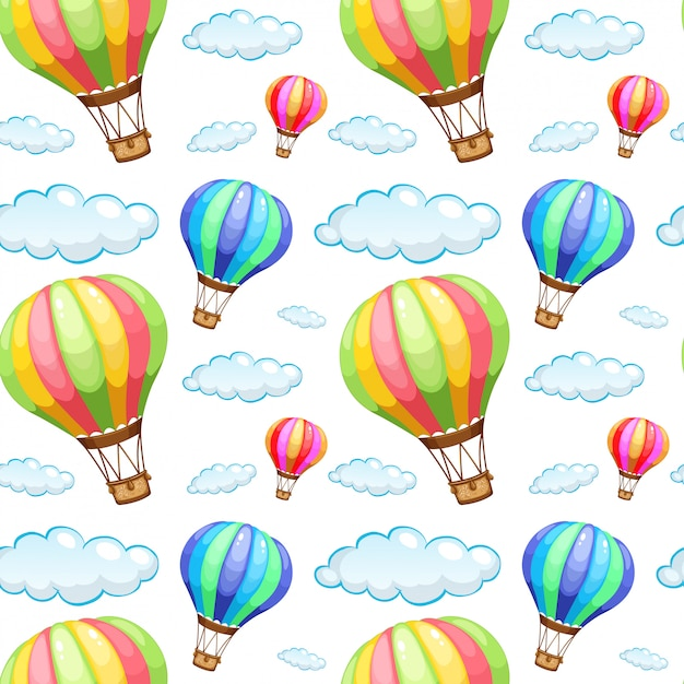 Seamless pattern tile cartoon with hot air balloons Free Vector