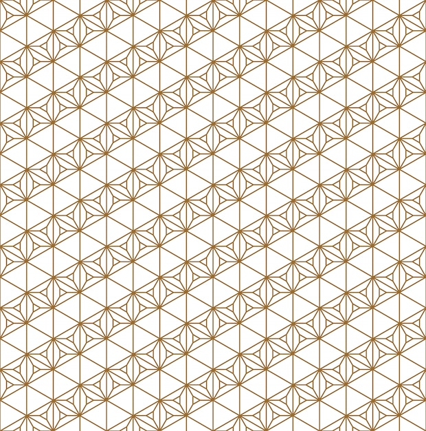 Seamless pattern traditional japanese geometric ornament .golden color lines. Premium Vector