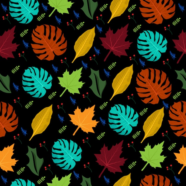 Seamless pattern tropical flower colorful Premium Vector