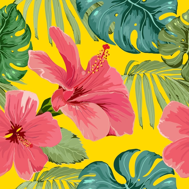 Seamless pattern tropical flower with leaves Premium Vector