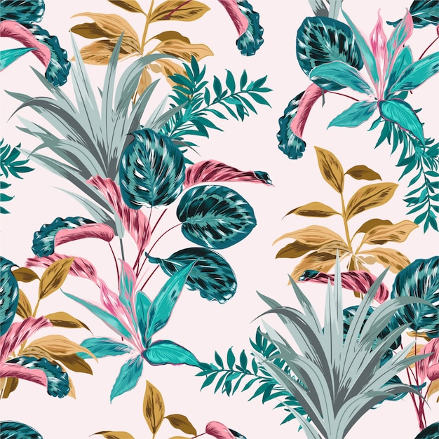 Seamless pattern of tropical forest Premium Vector