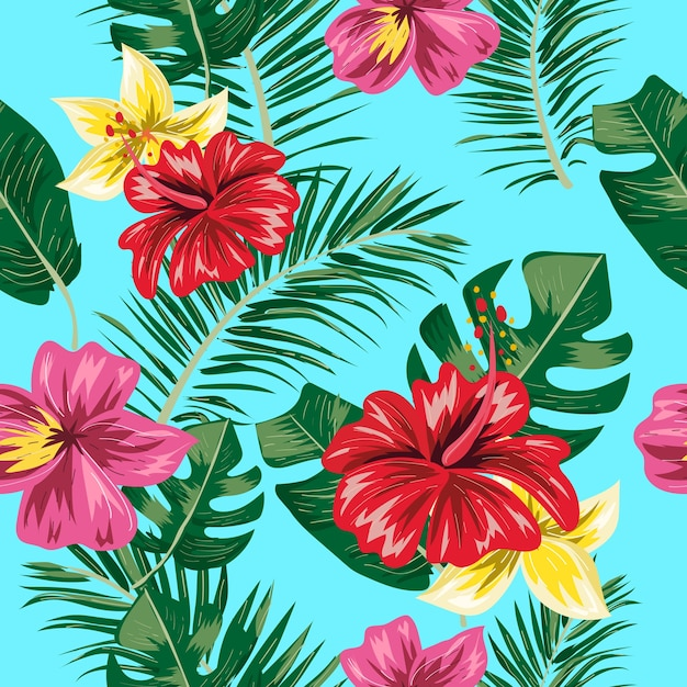 Seamless pattern of tropical leaf and flower. Premium Vector