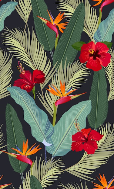 Seamless pattern tropical leaves with red hibiscus flower and bird of paradise Premium Vector