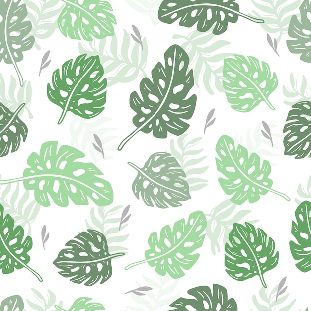 Seamless pattern tropical monstera and palm design wallpaper Premium Vector
