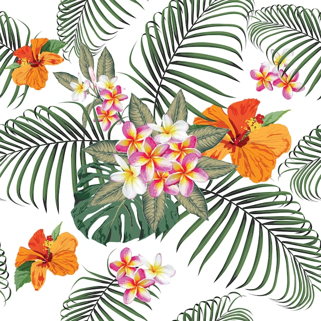 Seamless pattern tropical summer with frangipani Premium Vector
