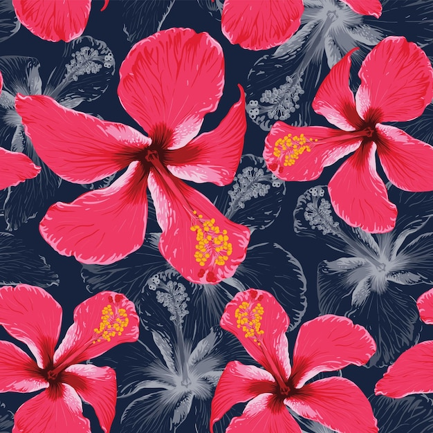 Seamless pattern tropical summer with hibiscus flowers abstract background. Premium Vector