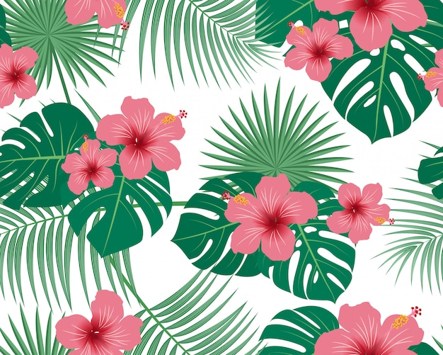 Seamless pattern of tropical tropical floral and leaves Premium Vector