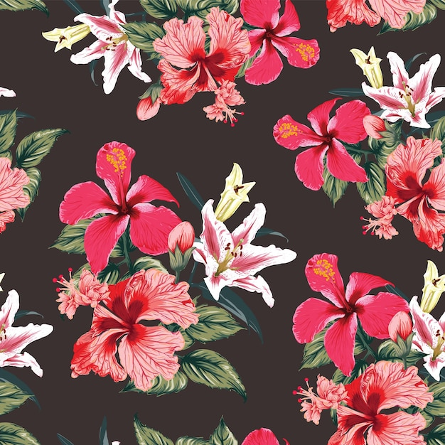 Seamless pattern tropical with red hibiscus and lily flowers abstract background. Premium Vector