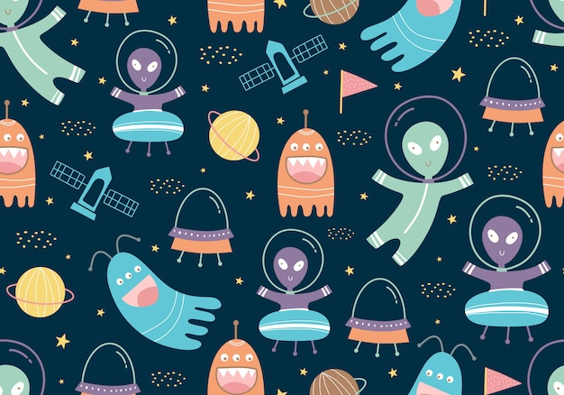 Seamless pattern of ufo, planets, rockets and satellite with childish style Premium Vector