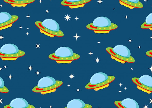 Seamless pattern of ufo with star in space galaxy background Premium Vector