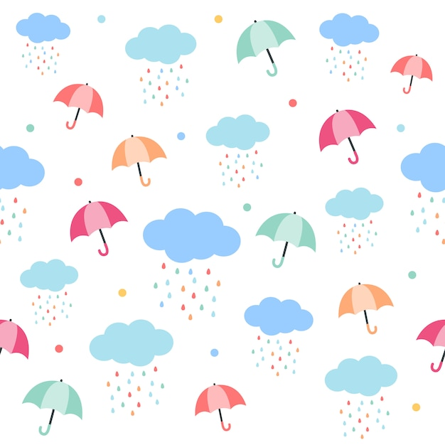 The seamless pattern of umbrella and rain cloud. the pattern of umbrella. the raindrop form the cloud with a rainbow color. the cute pattern in flat vector style. Premium Vector
