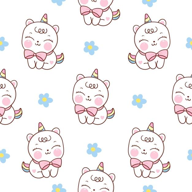 シームレスパターンユニコーン猫漫画 Premiumベクター
