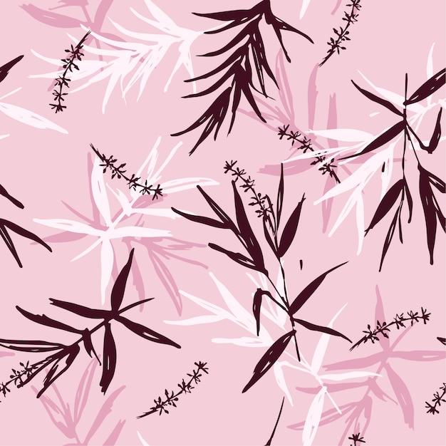 Seamless pattern vector of brush  bamboo leaves Premium Vector
