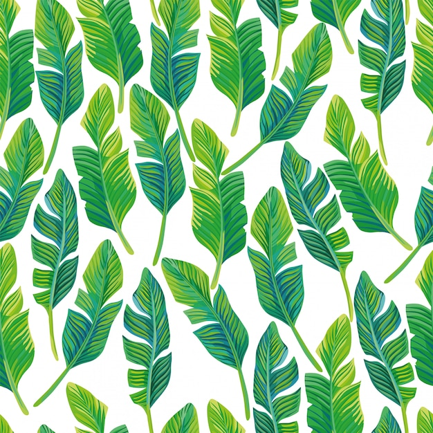 Seamless pattern vector composition of tropical palm leaves. beautiful tropical wallpaper Premium Vector