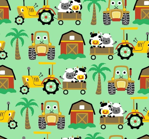 Seamless pattern vector of farm field theme cartoon Premium Vector