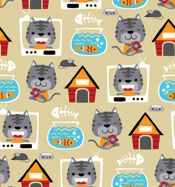 Seamless pattern vector of funny cat cartoon with its toys Premium Vector