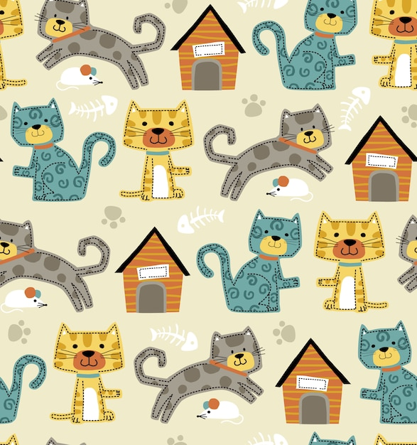 Seamless pattern vector of funny cats cartoon Premium Vector
