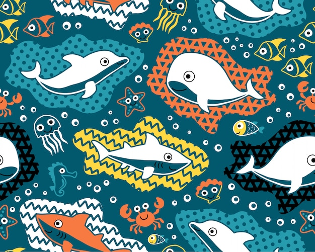 Seamless pattern vector of marine animals cartoon Premium Vector