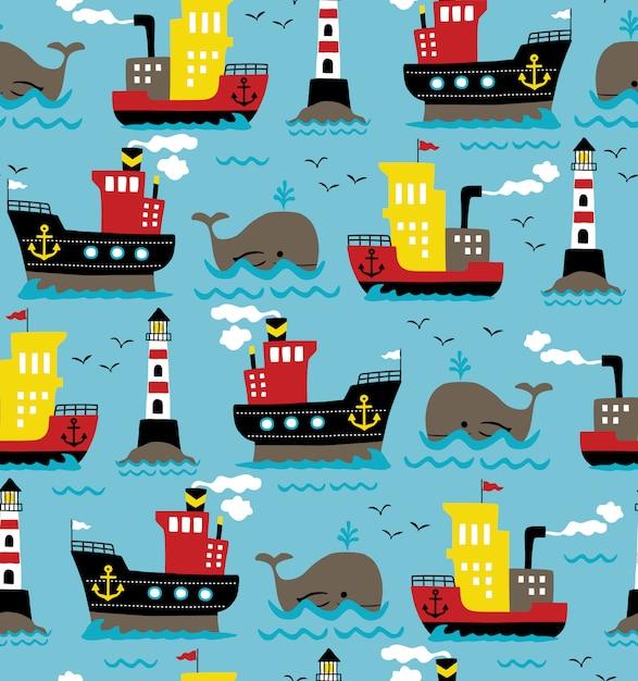 クジラと灯台の貨物船のシームレスパターンベクトル Premiumベクター