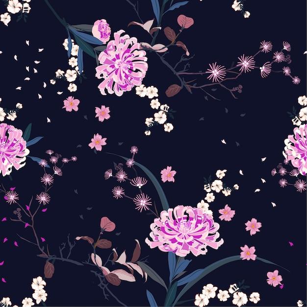 Seamless pattern vector oriental garden flower Premium Vector