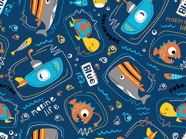 Seamless pattern vector of submarine with sea animals cartoon. Premium Vector
