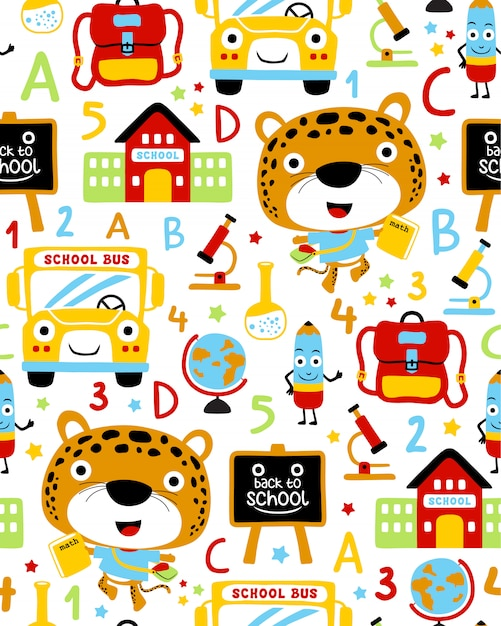 Seamless pattern vector with back to school cartoon Premium Vector