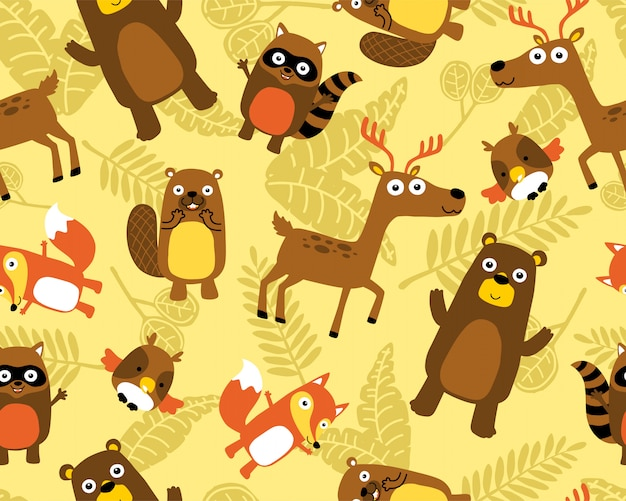 Seamless pattern vector with funny animals Premium Vector