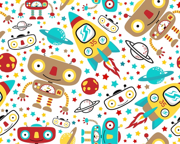 Seamless pattern vector with outer space robot cartoon Premium Vector