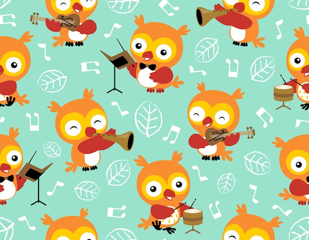 Seamless pattern vector with owl cartoon Premium Vector
