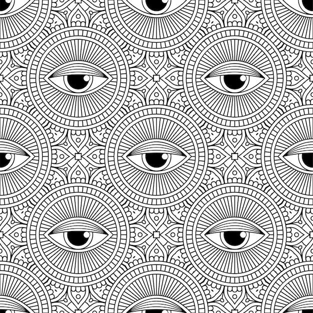シームレスパターン。ヴィンテージの装飾的な要素のパターン 無料ベクター