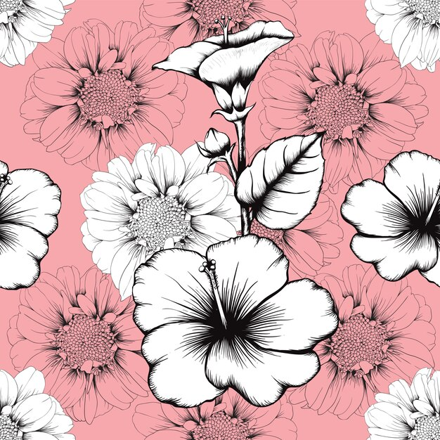 Seamless pattern vintage lilly and hibiscus flowers abstract pink pastel background Premium Vector