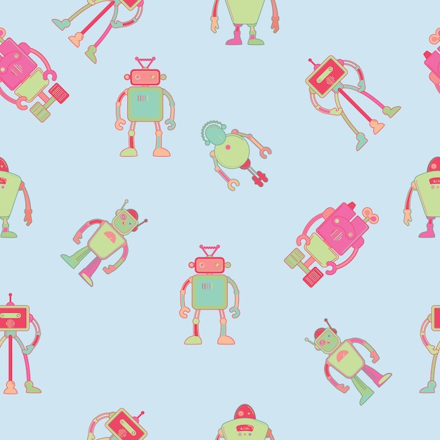 Seamless pattern wallpaper design with robots Premium Vector