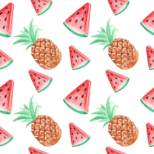 Seamless pattern wallpaper watermelon and pineapple tropical watercolor summer Premium Vector