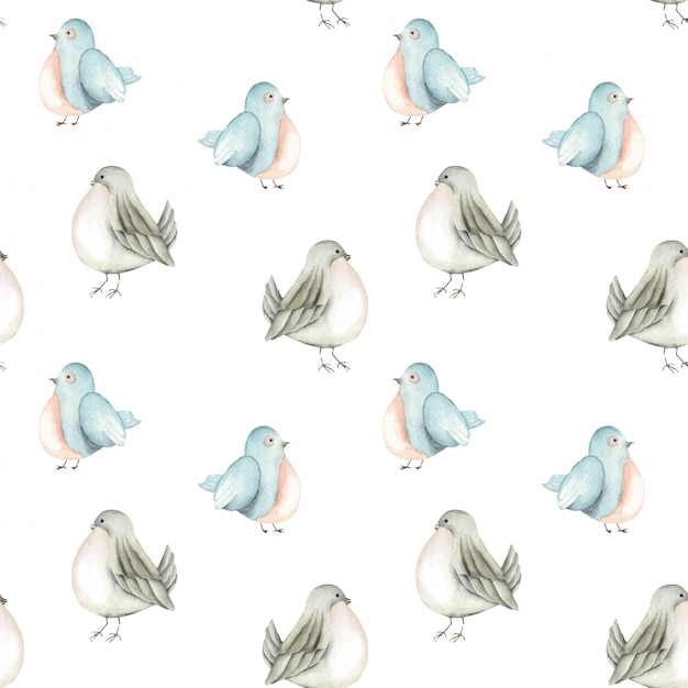 Seamless pattern of the watercolor blue birds Premium Vector