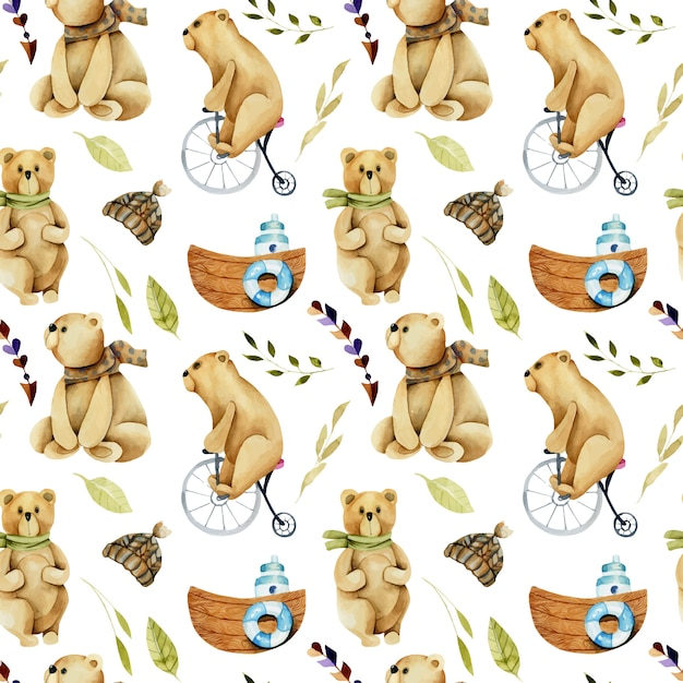 Seamless pattern of watercolor cute bears on a bicycle Premium Vector