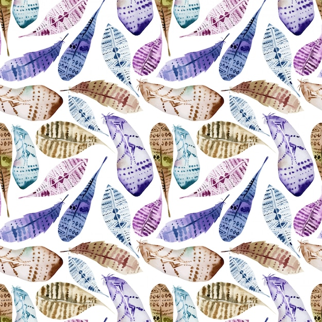 Seamless pattern of watercolor feathers Premium Vector