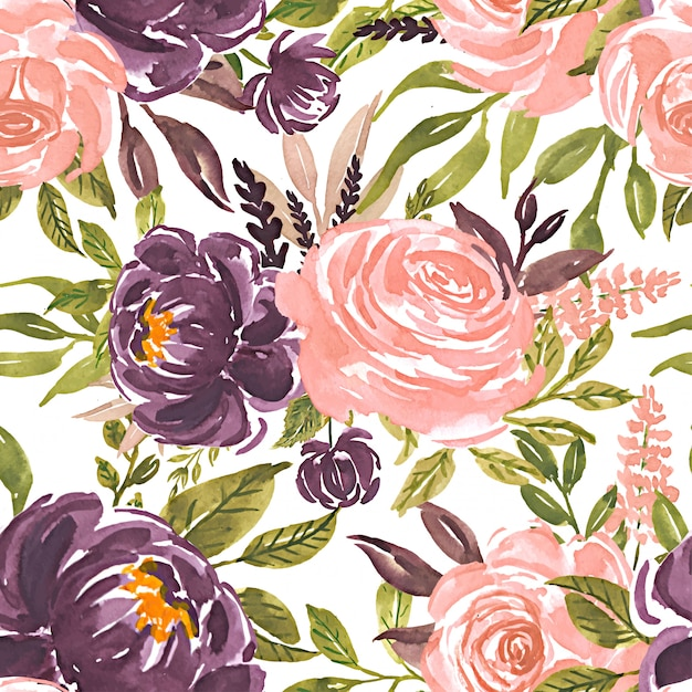 Seamless pattern watercolor flower rose pink purple Premium Vector