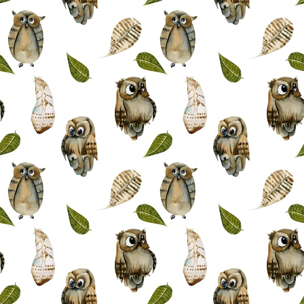 Seamless pattern of watercolor owls and feathers Premium Vector