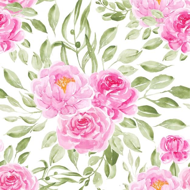 Seamless pattern watercolor peonies pink Premium Vector
