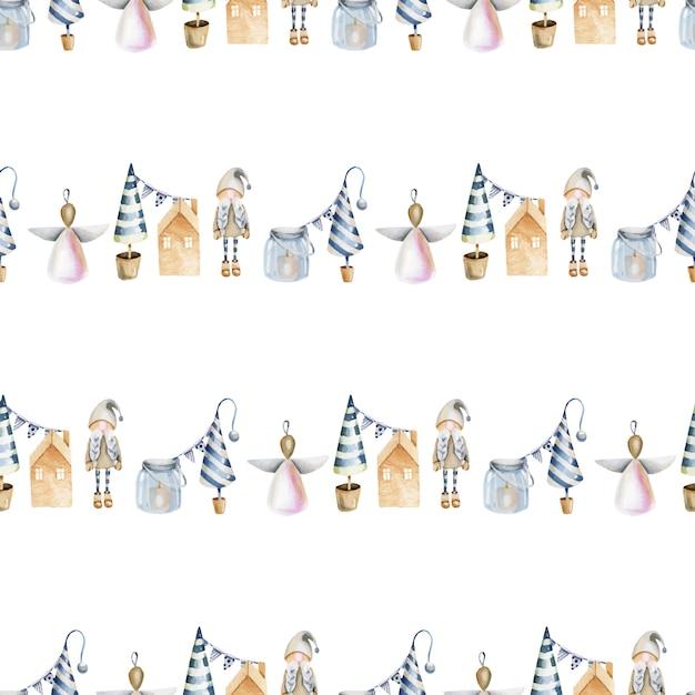 Seamless pattern of watercolor scandinavian winter elements Premium Vector
