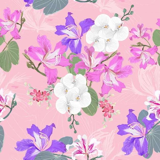 Seamless pattern white orchid and pink wild flowers background. Premium Vector