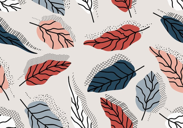 Seamless pattern with abstract leave. Premium Vector