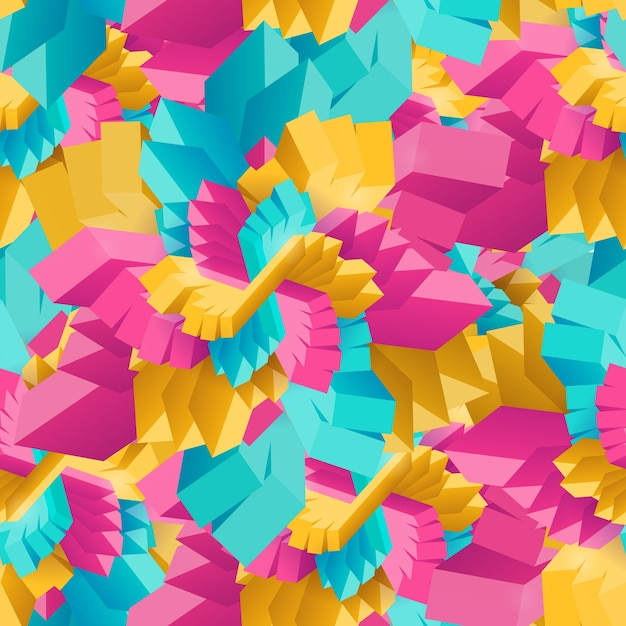 Seamless pattern with abstract multicolored geometric decorative rectangles Free Vector
