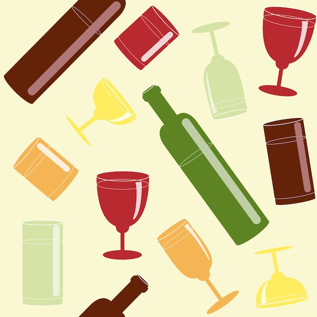 Seamless pattern with alcohol drinks Premium Vector