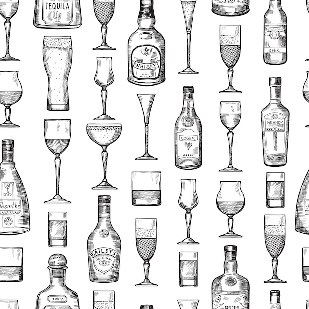 Seamless pattern with alcoholic drinking glasses. vector illustration in hand drawn style Premium Vector