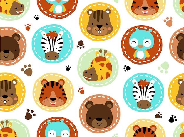 Seamless pattern with animals head cartoon Premium Vector